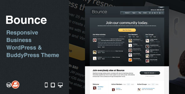 Bounce Responsive Business WordPress And BuddyPress Premium Theme